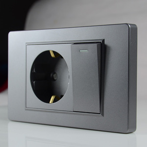 Dunkelgrau EU Deutsch standard 16A 2-loch power stecker steckdose mit 15A 1Gang 2Way Schalter 118*74mm PC flammschutzmittel panel 16A