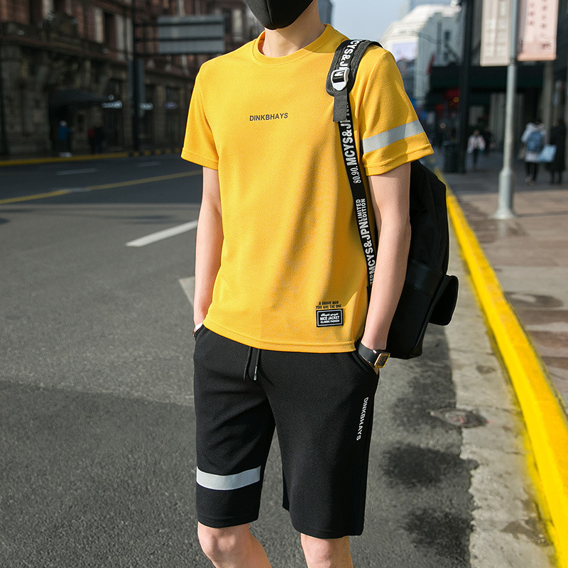 Two-Piece Set Running MEN'S Short-sleeved T-shirt Summer Wear Trend Casual Sports Summer Popular Brand Gym Shorts MEN'S Suit