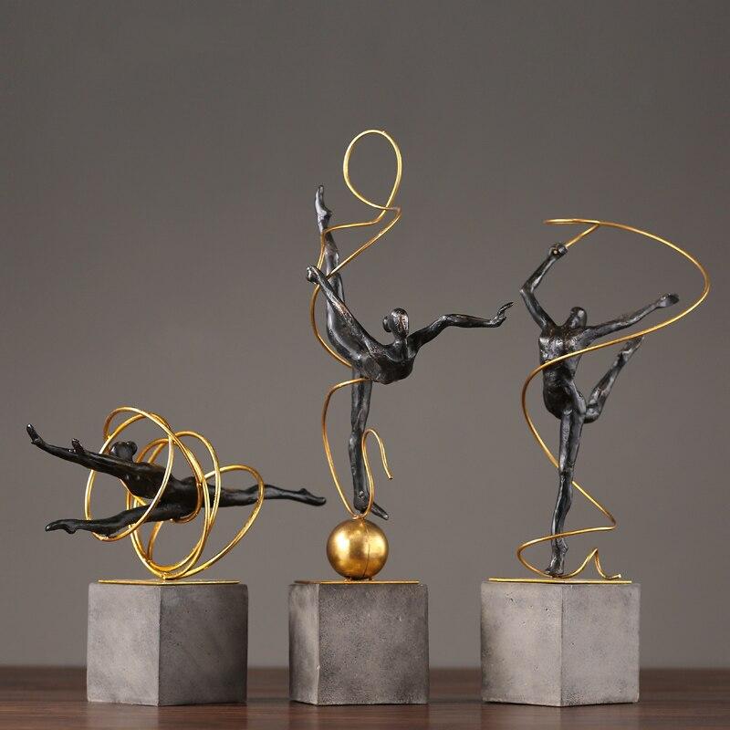 Home Decoration Accessories Art Gymnastics Female Athlete Waving A Ribbon Decoration Figurine Living Room Ornament Gift