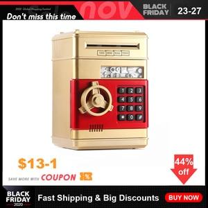 Image 1 - Youool 전자 돼지 저금통 ATM 비밀 번호 돈 상자 현금 동전 저장 ATM 은행 안전 상자 자동 스크롤 종이 지폐 아이를위한 선물
