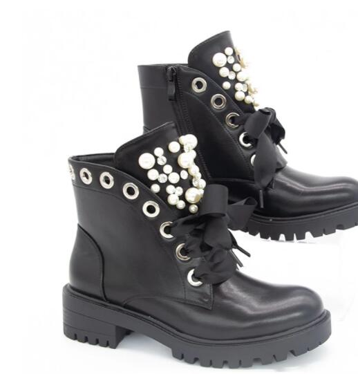 Tireless Women Short Boots 2020 Ladies Leather Ankle Boots Autumn Platform Motorcycle Shoes For Woman's Punk 35-43 Winter Pearl Rivet Sho