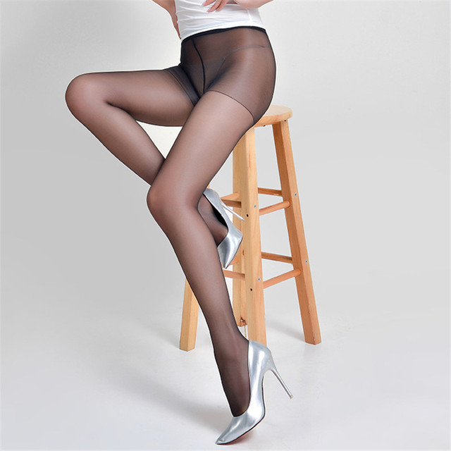 VISNXGI 15 D Thin See Through Oil Shiny High Waist Tights Women Stretch Crotch Detail Pantyhose Cute Solid Stockings Hosiery 4