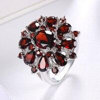 2021 damen Schmuck Elegante Silber Farbe Intarsien Granat Rot Zirkon Blume Form Damen Bankett Ring Schmuck Ganze Verkauf