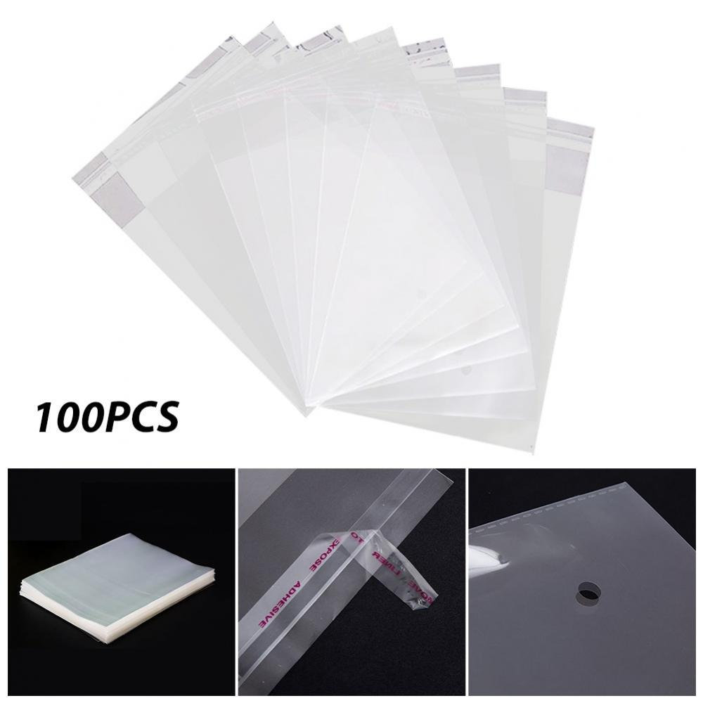 100pcs Transparent Self Adhesive Seal OPP Bag Cellophane Cello Poly Bag Jewelry Packaging Bag Wedding Faver Pouch & Gift Bag