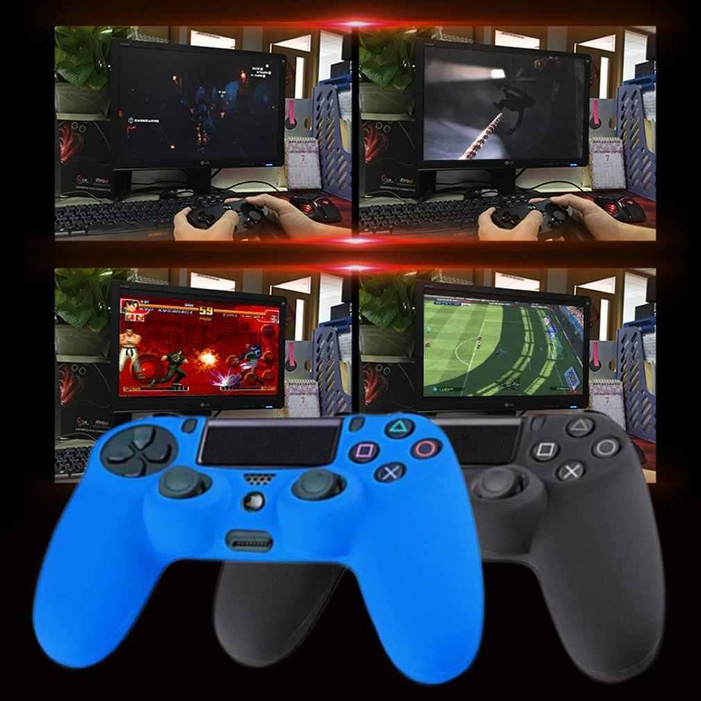 أحدث الأسود الأزرق الأحمر لينة سيليكون المطاط هلام الجلد عدم الانزلاق حالة غطاء ل PS4 تحكم