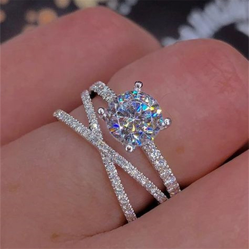 14K Gold Zircon Diamond Anillos Rings Double Wound Engagement Bague Bizuteria For Women Jewelry White Topaz 925 Rings With Box