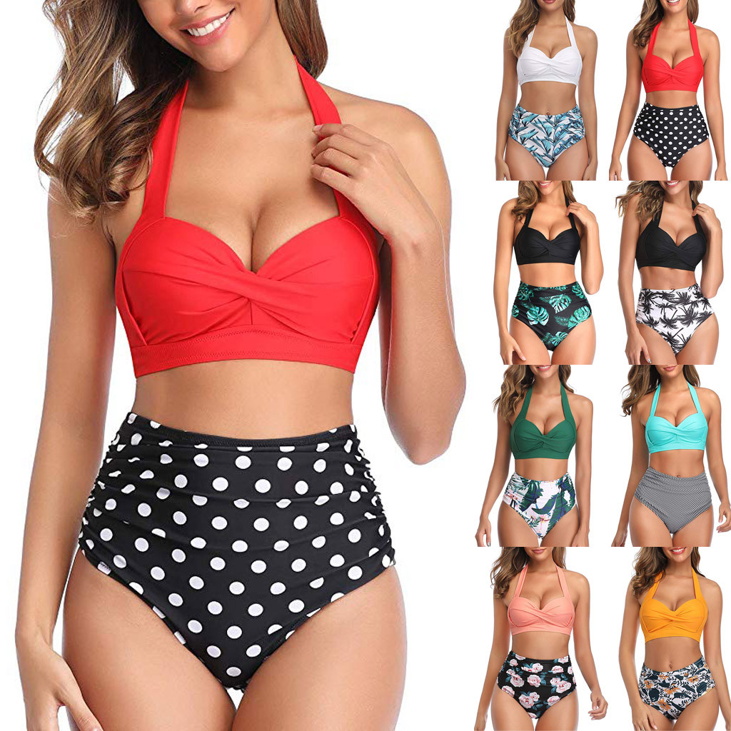 Women Vintage Swimsuit Two Piece Retro Halter Ruched High Waist Print Bikini Set 2020 Summer Hot Sale Push Up Bra Padded