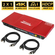 TESmart HDMI 4K@60Hz Ultra HD 2x1 HDMI KVM Switch 3840x2160@60Hz 4:4:4 with 2 Pcs 5ft KVM Cables Supports USB 2.0 Devices Cont