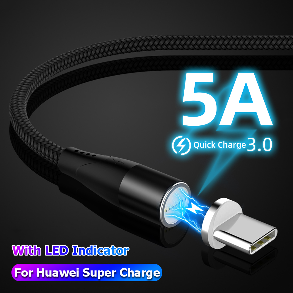 5A Magnetic Charging Cable Micro USB Charger Type C for Samsung Huawei Supercharge Magnet Phone Cord Flash Charge USB Cable image