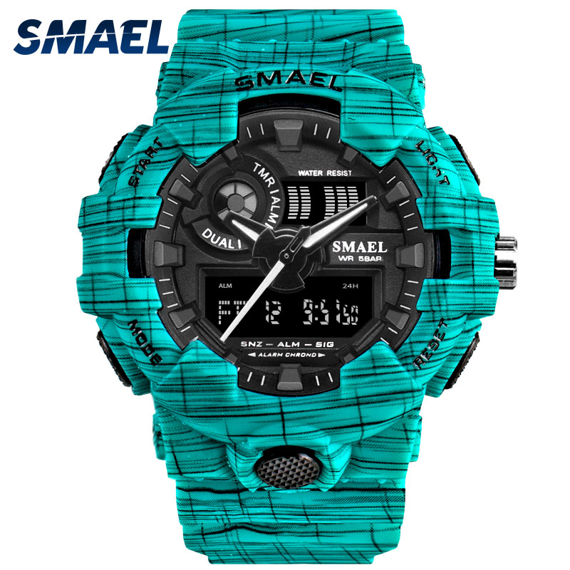 SMAEL The Men's Watch Alarm Clock Sport Wristwatches Chronograph 50M Waterproof Watch Green 8001reloj hombre Quartz Watches Men title=