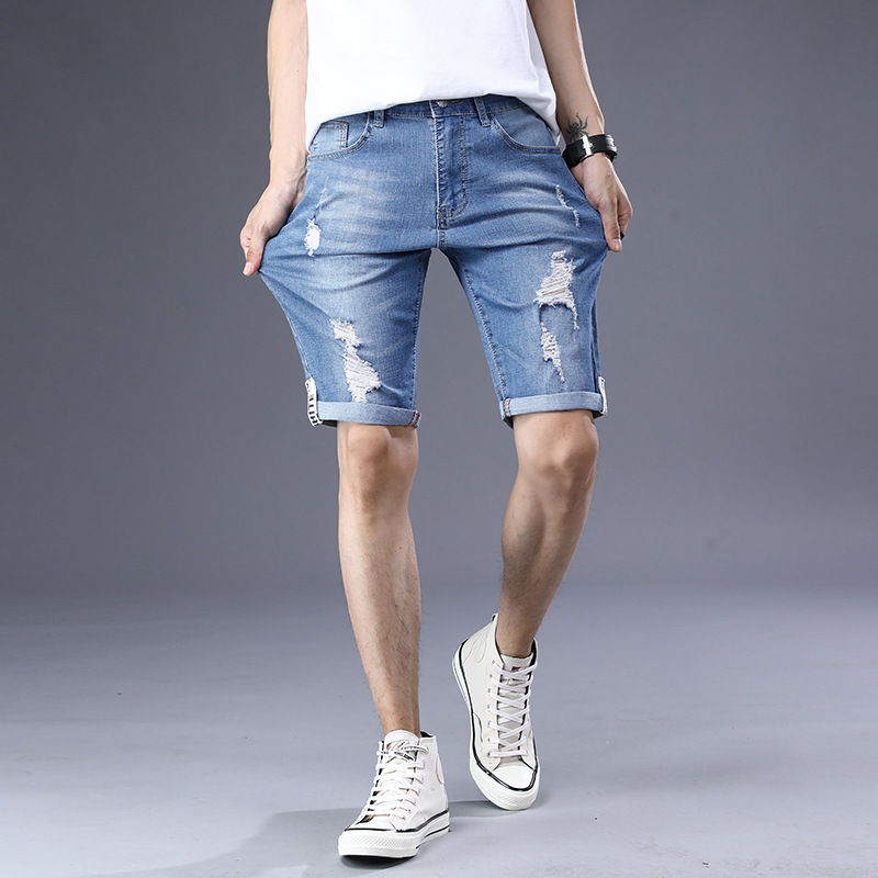 2019 Fashion MEN'S Jeans Shorts Denim Shorts Fashion Straight Pants With Holes Fashion Casual Pants