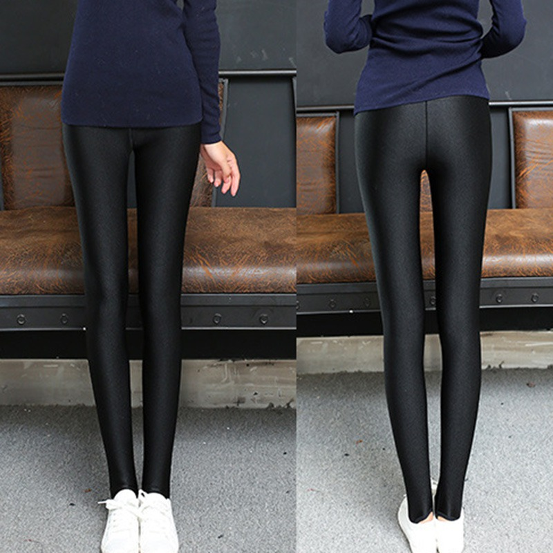 Women Leggings Shiny Long Pants Solid Color Large Size Female Trousers Spandex Elasticity Waterproof Pants Leggings