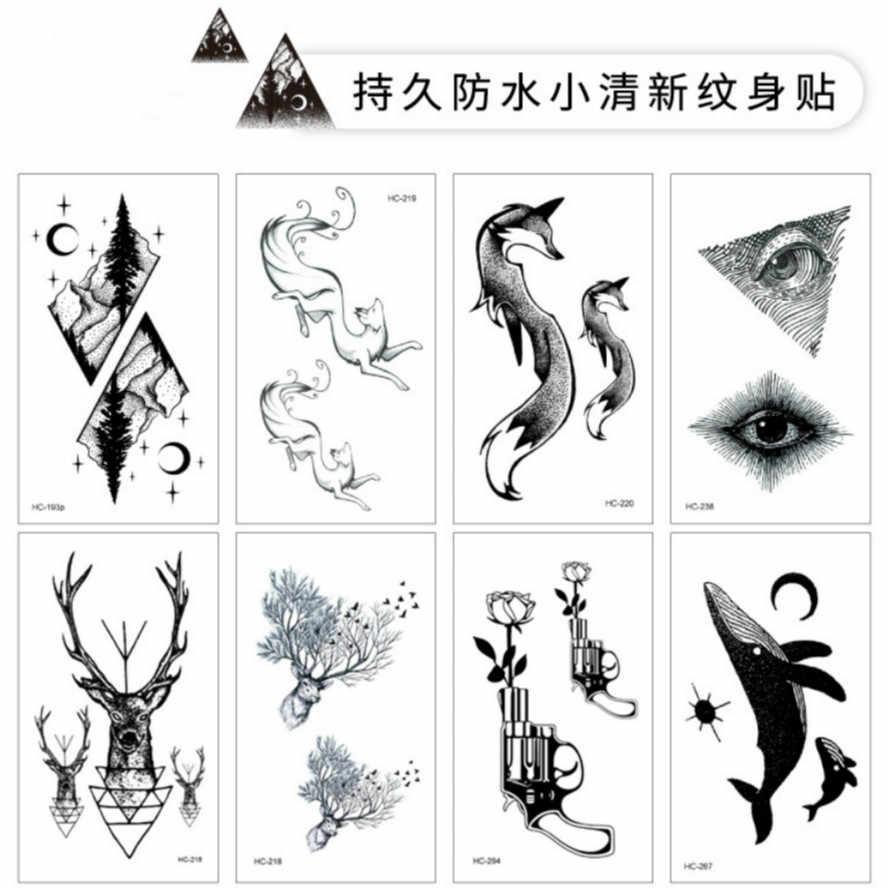 Tatuagem temporária falsa adesiva feminina OP2, tatuagens grandes com desenho de flor, raposas e baleias na cor preta, 1 peça