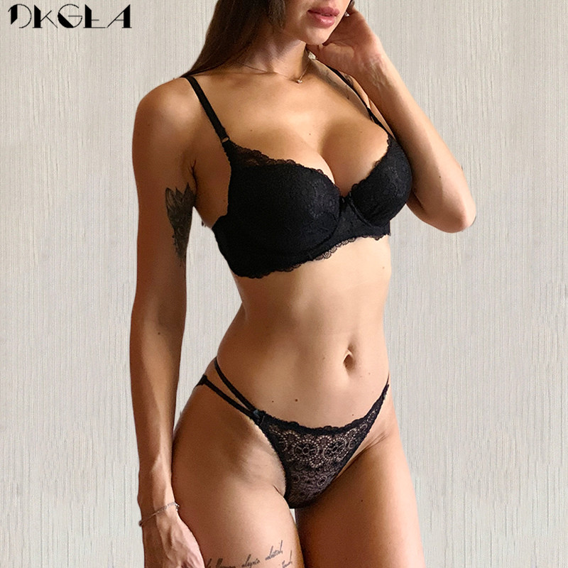 New Super Gather Brassiere Thick Black Women Bra Set Push Up Cotton Underwear Set Sexy Bras Deep V Embroidery Lingerie Sets Lace