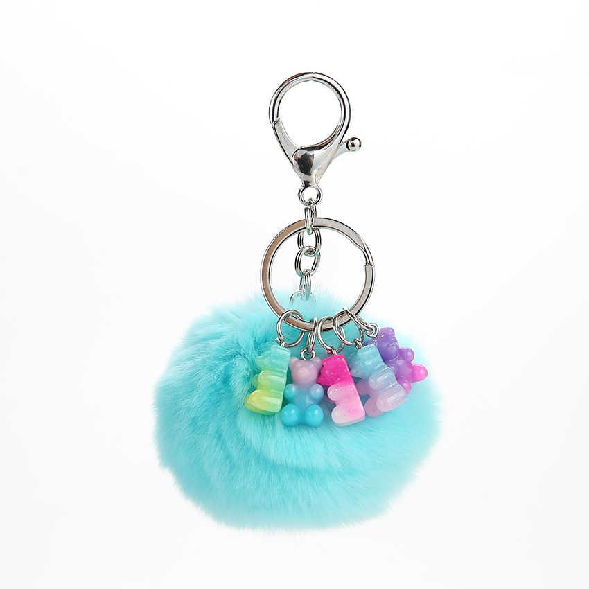 1PC Pom Pom Pele bola Chaveiro gummy bear chaveiro fofo bola de pêlo chaveiro encantos da bolsa para a mulher
