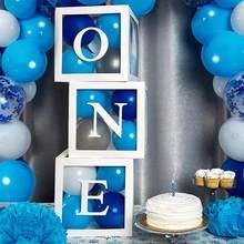 Globos para Baby Shower de 1st una decoración de fiesta de cumpleaños de caja transparente niños Primer Cumpleaños niño niña decoraciones de Babyshower