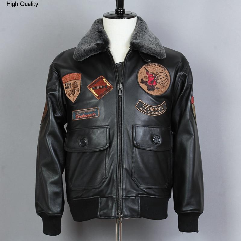 Fly Air Force Flight Jacket Biker Motorcycle Jacket Fur Collar G1 Genuine Leather Jacket Men Black Sheepskin Winter Coat