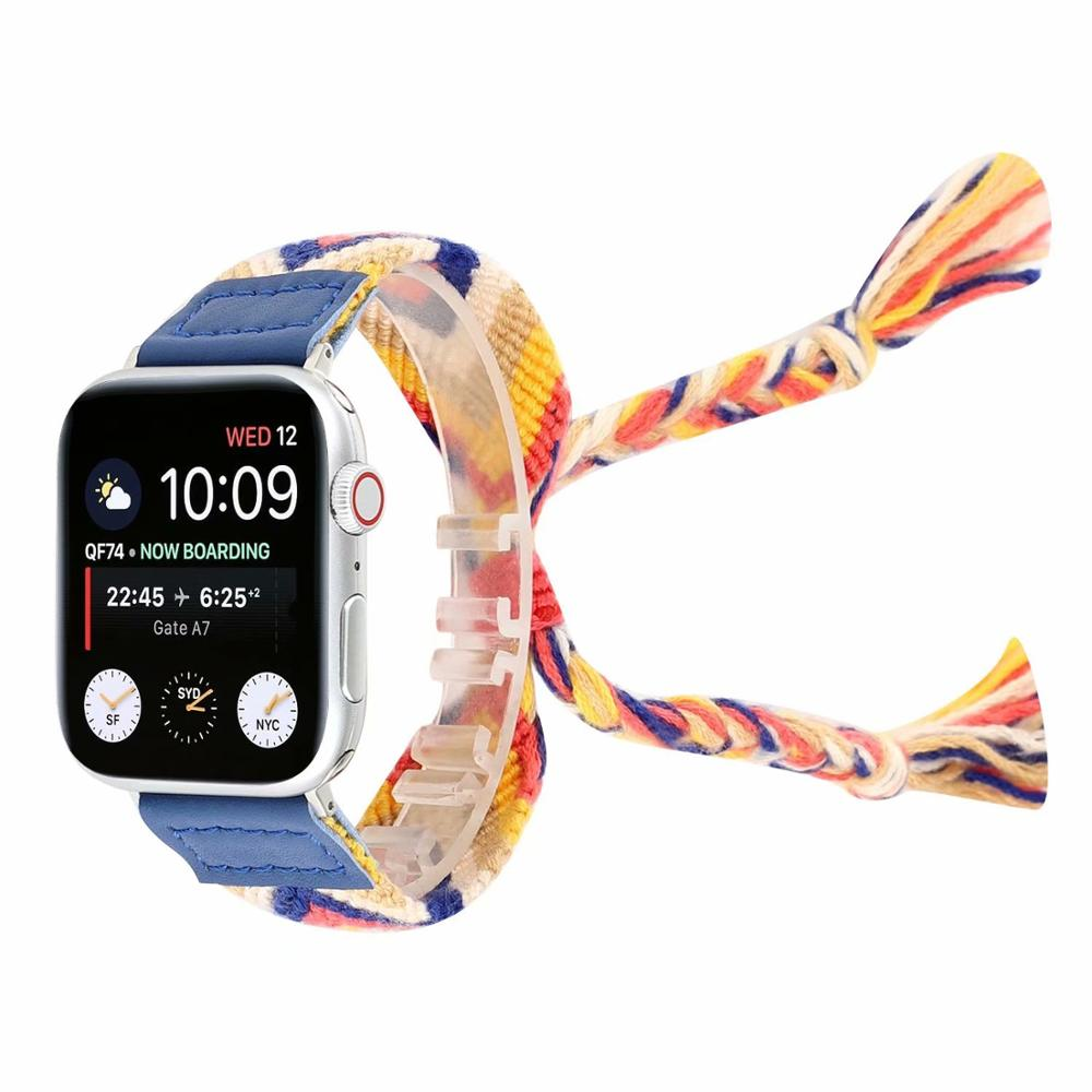 Fashion Style Woven strap for apple watch band 42 38mm for apple watch sport loop 44mm 40mm Bracelet for iwatch series 1 2 3 4 in Watchbands from Watches