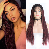 Charisma Long Box Braided Wig Synthetic Lace Front Wig Heat Resistant Hair Ombre Burgundy Red Braids Wigs for Black Women