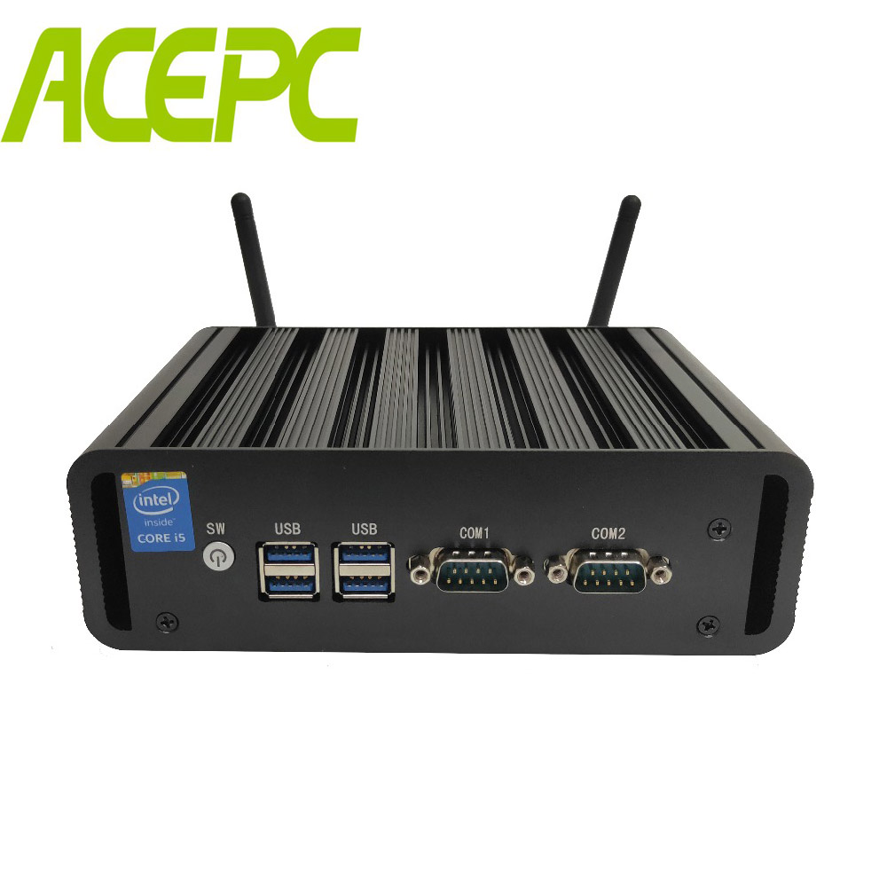 Core I7 5500U I5 4200U I3 4005U Fanless Mini PC Windows 10  Dual Core Dual LAN Dual COM Mini Desktop Computer Pfsense HDMI WIFI