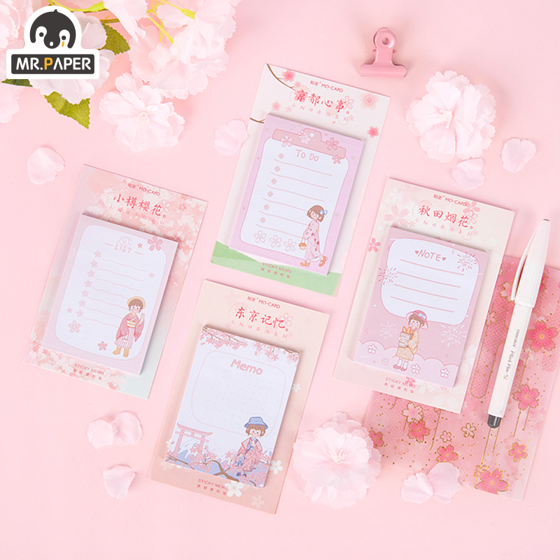 Mr.paper Memo Pad Sticky Japanese Sakura Pink Girlish Memory Stationery Self-Adhesive 30 Pcs Pepalaria Office School Supplies