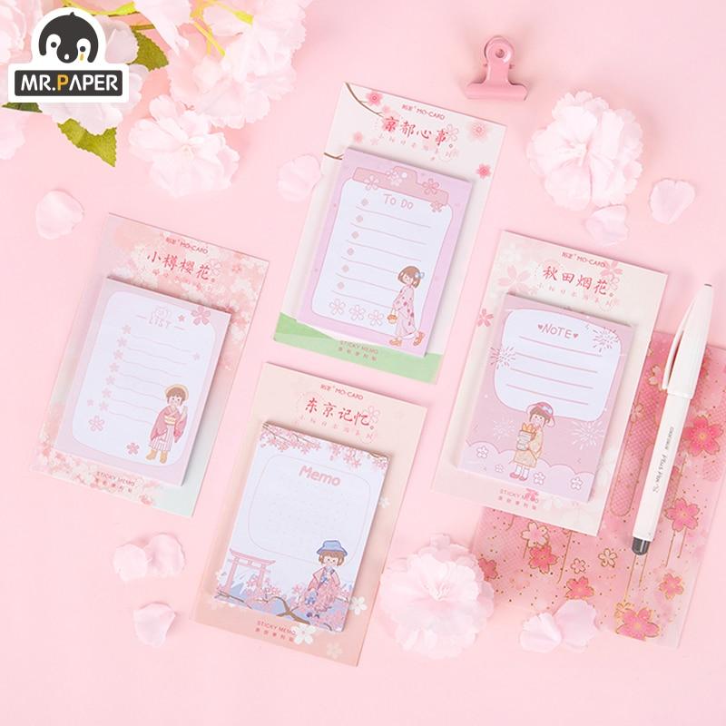 Mr.paper Memo Pad Sticky Japanese Sakura Pink Girlish Memory Stationery Self-Adhesive 30 Pcs Pepalaria Office School Supplies
