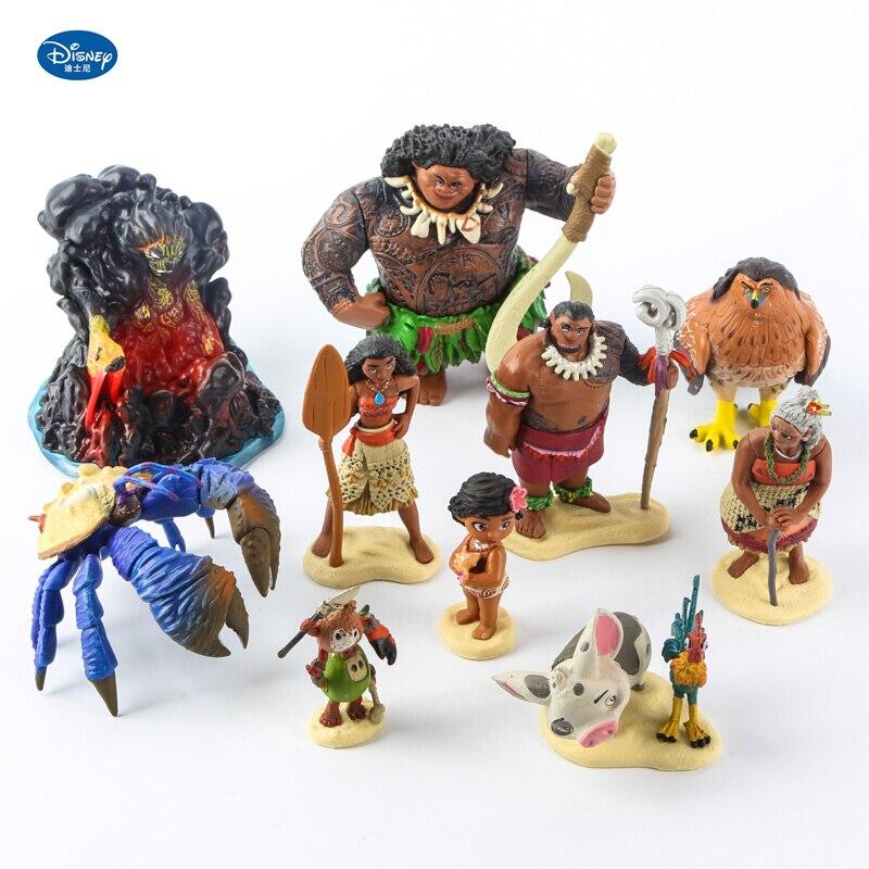 Conjunto de bonecos de filme vaiana com 12 peças, modelos de bonecos do filme disney, demigod, maui, moana, waialiki, vaiana, chefe, tui, sina, tala presente