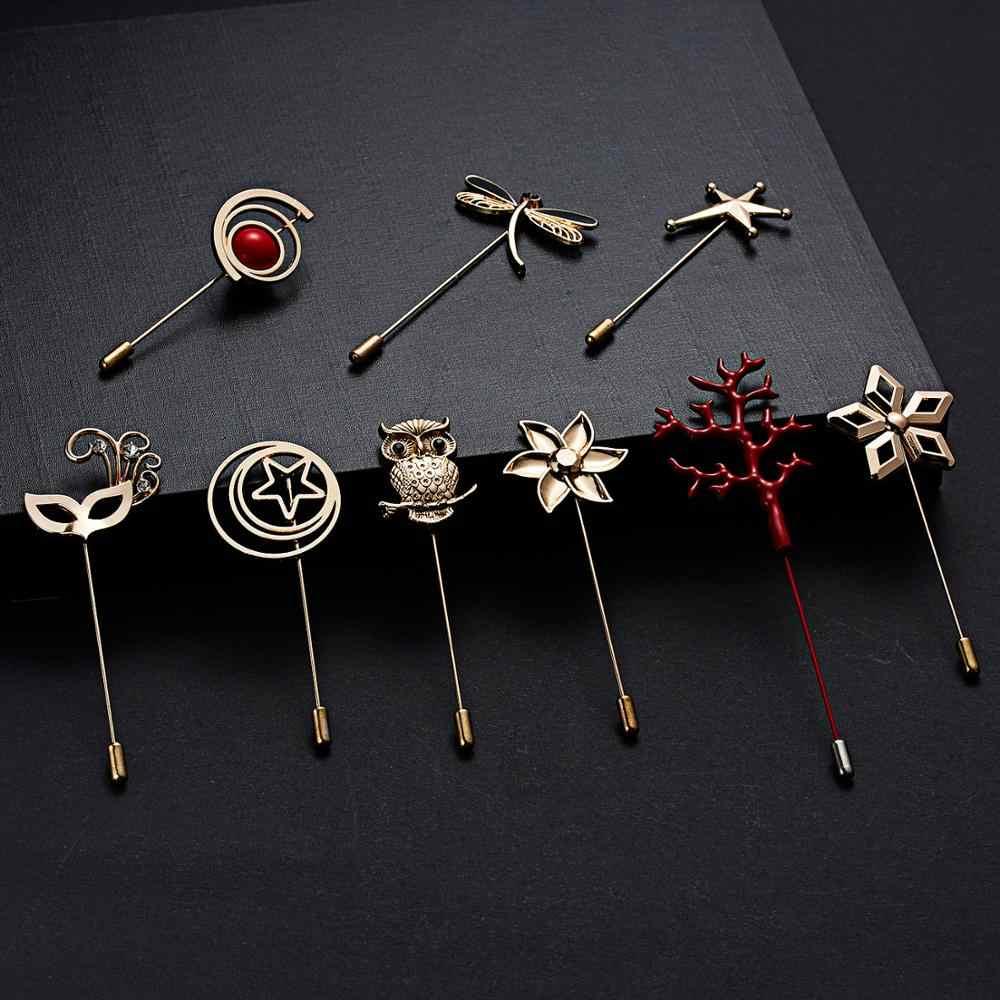 Wanita Ornamen Jarum Bros Burung Hantu Dragonfly Bintang Bunga Topeng Kerawang Lingkaran Pin Bros Mantel Gaun Ornamen Perhiasan Aksesoris