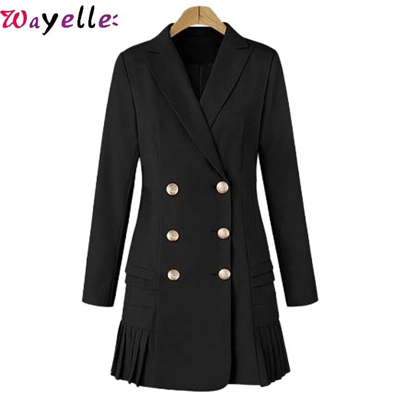 Femmes élégantes Blazers robe 2019 automne nouvelle mode décontracté femmes plissée robe noire sauvage revers double boutonnage robe grande taille