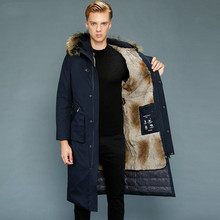 Real Fur Coat Men Parka Long Winter Goose Down Jacket Warm Rabbit Fur Liner Outerwear Men #8217 s Down Jackets 1807-1 KJ3109 cheap ZVAQS REGULAR Casual zipper Full Zippers Thick (Winter) Broadcloth Polyester White goose down Liner Detachable 150g-200g
