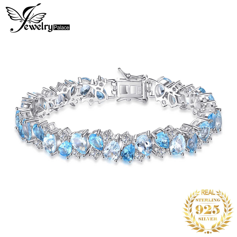 ضخمة 23ct الطبيعية لندن الأزرق توباز 925 فضة سوار تنس الأحجار الكريمة أساور للنساء الفضة 925 صنع المجوهرات