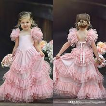 Flower Girls Dresses For Weddings Jewel Neck Pink Appliques Bow Tiered Sweep Train Butterfly Birthday Children Girl Pageant Gown new pink baby girls birthday dresses sweep train beaded applique kids formal wear bow flower girls dresses custom made