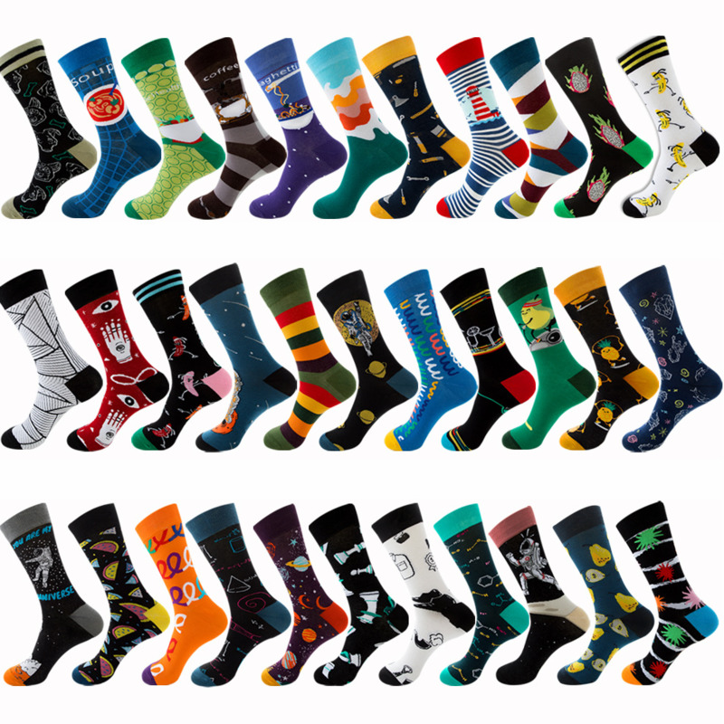 PEONFLY 1 Pair Men Dress Color Comfortable Pair Roller Skateboard For Causal Reason Funny Wedding Socks Socks Astronaut Geometry