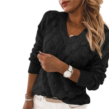 2020 Fashion Trend Women Knitted Sweater Autumn Winter Hollow Out Feather Pattern Long Sleeve V-neck Pullover Casual Tops