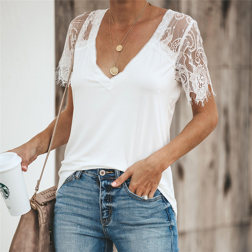 Lace T Shirt Women V-neck Tops Tee Summer Sexy T-shirt Slim Fit Short Sleeve 2020 New Tee Shirts Women Clothes Camisas Mujer