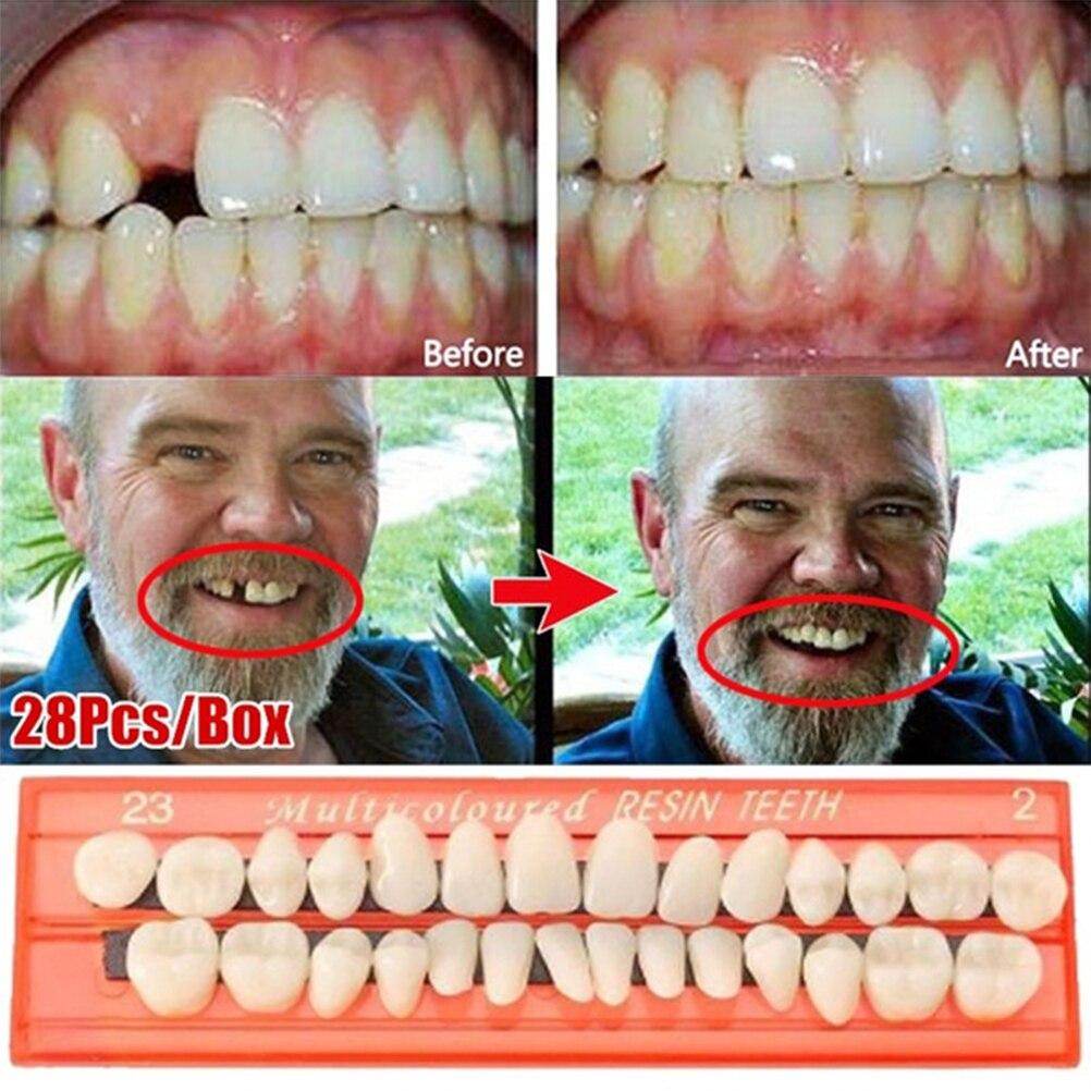 28 Pçs/set Dentaduras Dentes de Resina Modelo Durável Universal Resi Dentes Falsos Dentes Materiais Dentários Dentes Ensino Modelo Dedicado