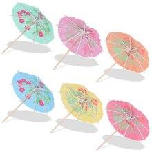 24 pçs papel bebida cocktail guarda-chuvas luau varas tropical havaiano festa de casamento papel guarda-chuva decoração barra