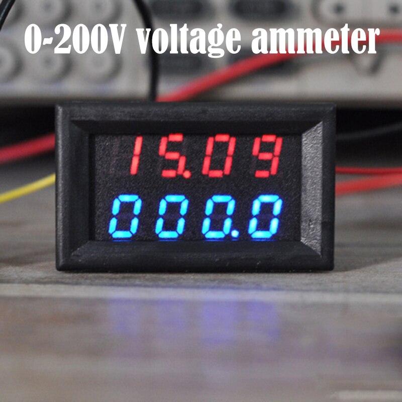 Digital DC 200V 10A Panel Voltmeter Amp Volt Voltage Current Meter Tester Ammeter Voltage Current Meter Dual LED Display
