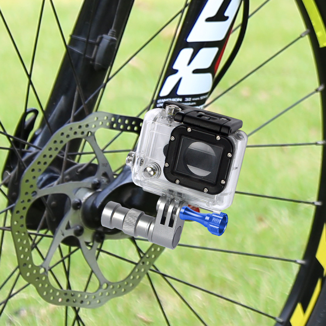 BGNING-Soporte de rueda para cámara de bicicleta, portátil, con eje fijo para GoPro Hero 8 7 6 5 4 3 cámara de acción deportiva