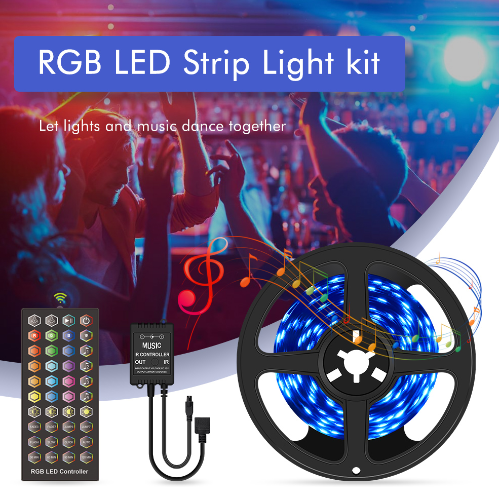 RGB LED Strip Light 5050 SMD Diode Flexible Ribbon 5M 10M 15M 20M LED Strip Full Set with Music LED Controller 12V Power Adapter