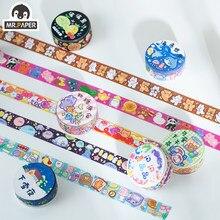 Mr. papel 12 projetos 1 rolo há um pequeno mundo série estilo dos desenhos animados criativo bonito decoração mão conta material diy fitas washi