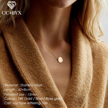 CC Stainless Steel Necklace For Women Small Thin Dainty Korean Style Necklaces Jewelry 13mm Pendant Simple Design Party YX15481(China)