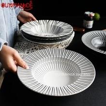 Ceramic Western Deep Plate Dish Pasta Dish Restaurant Cafe Dish Saucer Soup Plate Pasta Bowl Salad Straw Hat Plate Tableware