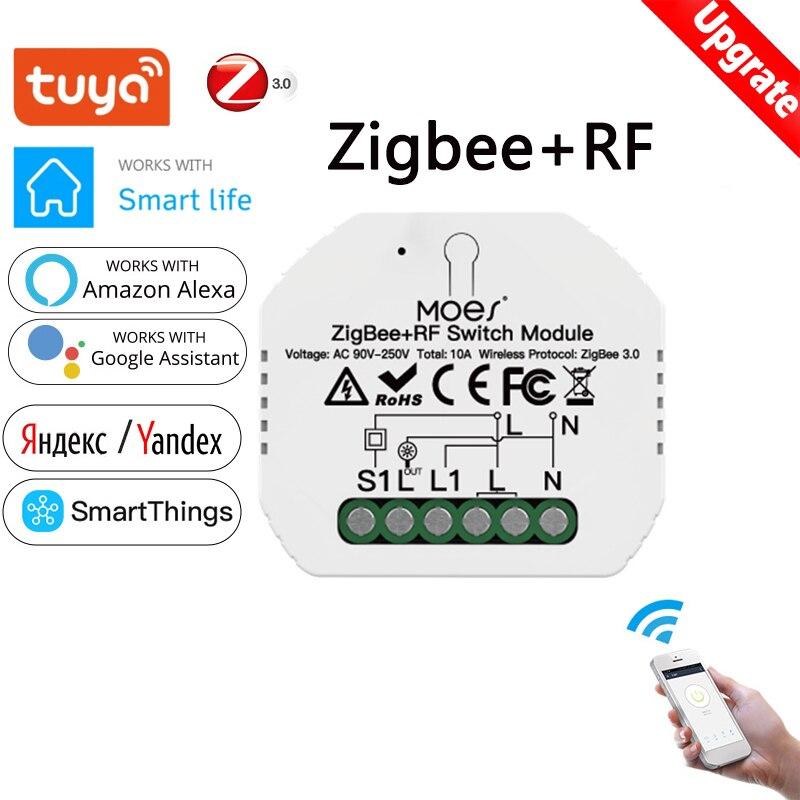 Умный светильник ель света Tuya ZigBee 3,0, релейный модуль, 1 комплект, модуль переключателя Zigbee RF, дистанционное управление с Alexa Google Home через конц...
