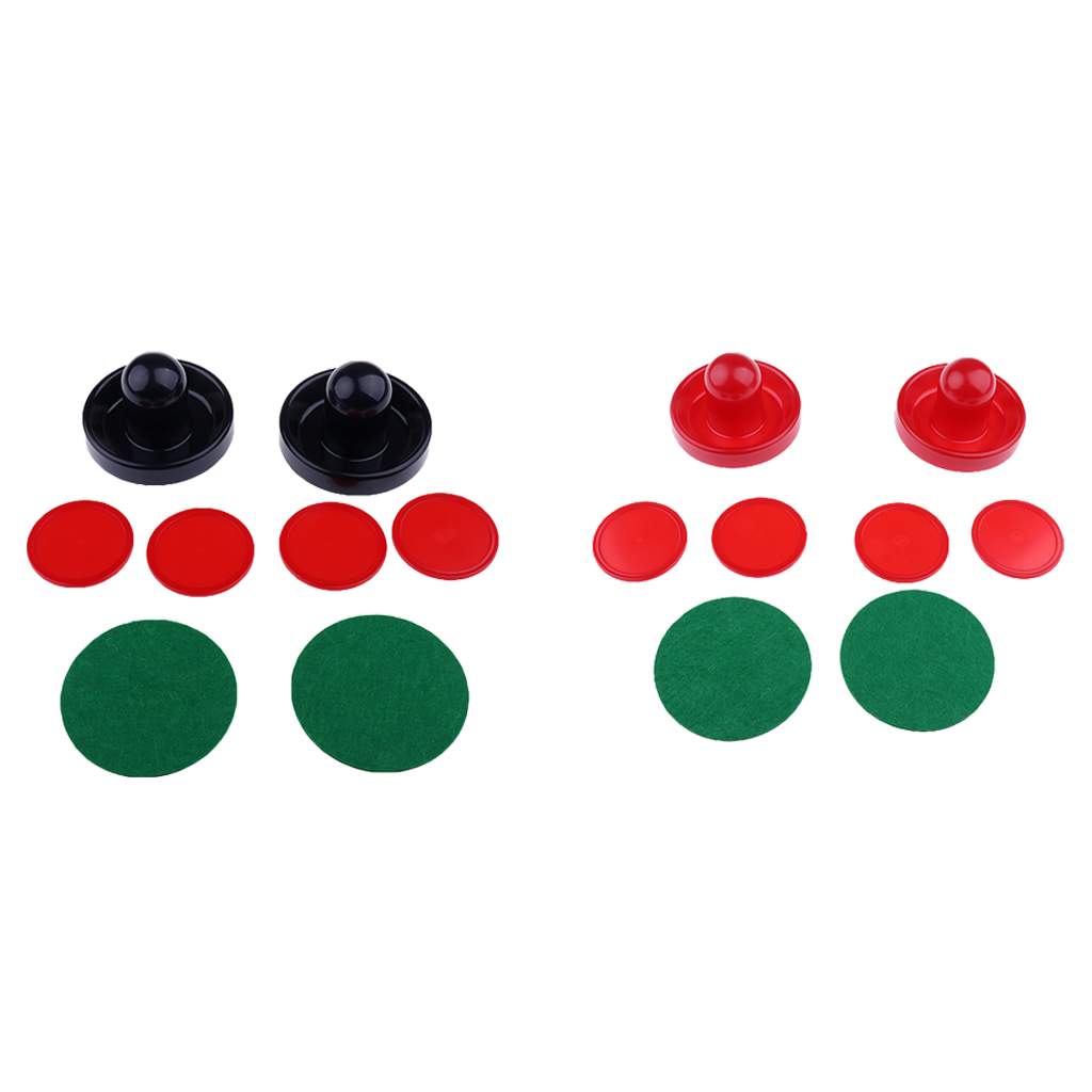 Pack of Two Air Hockey Pushers Strikers Goalies And Four Pucks Three Sizes