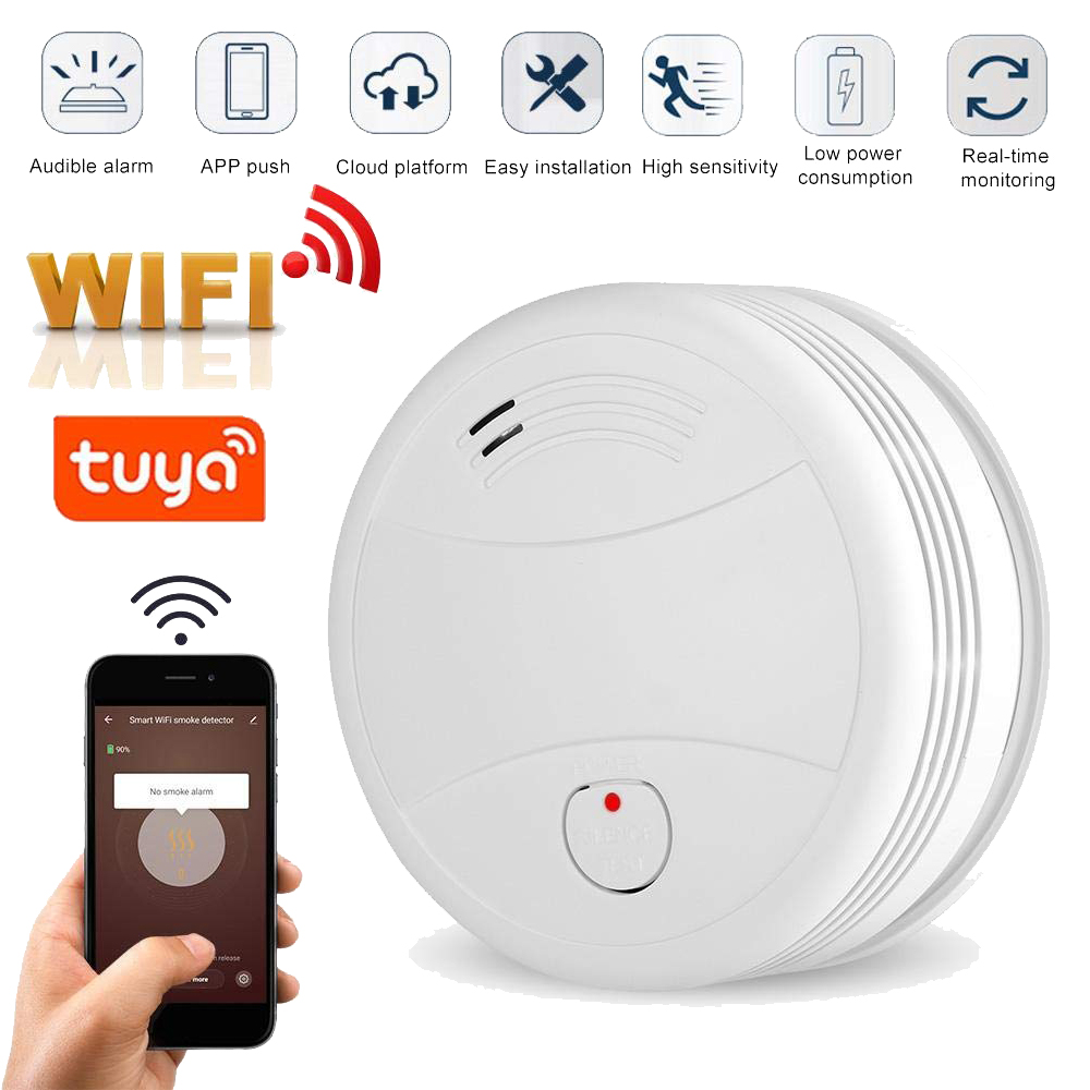 2019 Newest WIFI Smoke Detector Tuya APP Fire Alarm Sensor Independent Smoke Alarm Protection Android title=