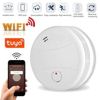2019 nuevo Detector de humo WIFI Tuya APP Sensor de alarma de incendios alarma de humo independiente protección Android