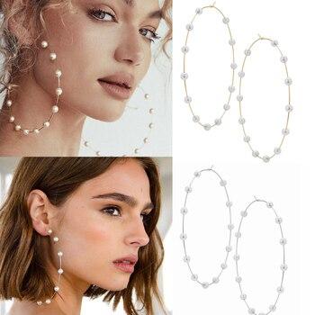 Pendientes de aro de perlas para mujer, redondos grandes pendientes, dorado grande, aros circulares, pendiente huggie, regalo de fiesta, joyería 2019