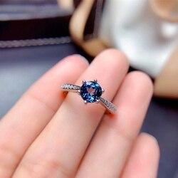 6 мм топаз кольца из серебра 925 пробы ювелирные украшения для женщин Подарок на годовщину помолвки натуральный Лондон голубые драгоценные к...