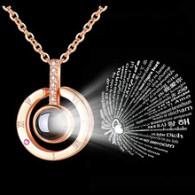 New Alloy S925 Rose Gold Silver 100 Languages I Love You Projection Pe